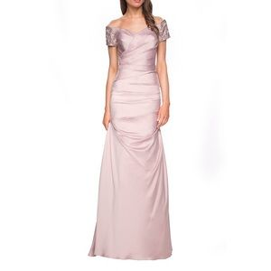 La Femme Ruched & Beaded Sleeve Gown in Champagne